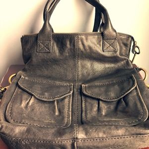 Fossil black leather crossbody convertible handbag